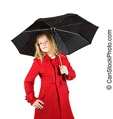 girl, parapluie, manteau