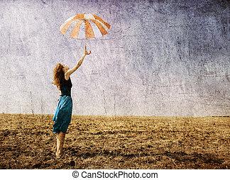 girl, parapluie, outdoor.