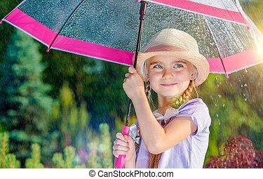 girl, parapluie, pluie, sous