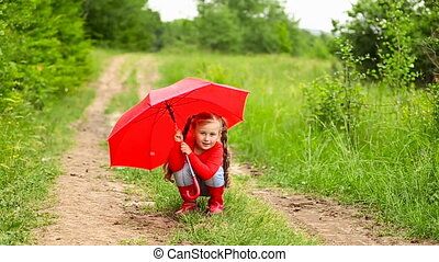 girl, parapluie, rouges