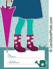girl, parapluie, tenue, fermé