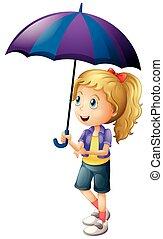 girl, parapluie, tenue, heureux