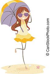 girl, parapluie