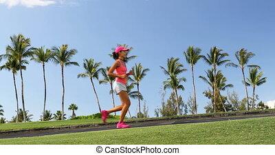 girl, parc, été, vivre actif, jogging