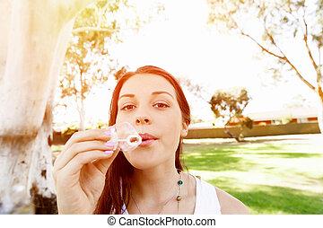 girl, parc, adolescent