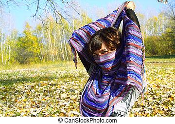 girl, parc, automne, beau