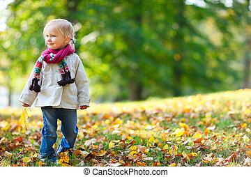 girl, parc, automne, enfantqui commence à marcher