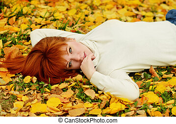 girl, parc, automne