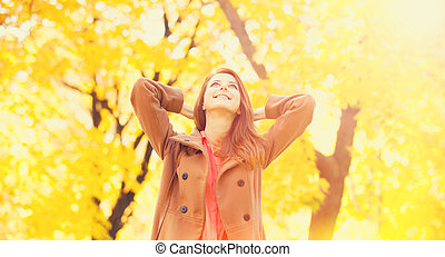girl, parc, automne, roux
