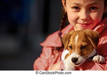 girl, parc, chien
