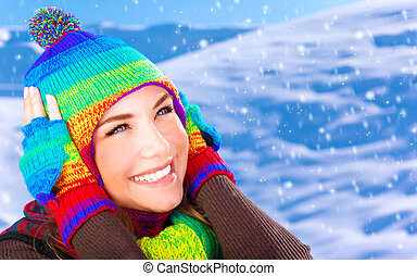 girl, parc, hiver, heureux