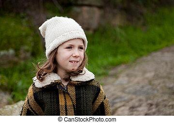 girl, parc, hiver, joli