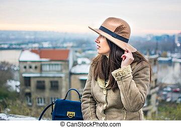 girl, parc, hiver, jour, mode