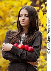 girl, parc, jeune, automne