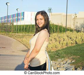 girl, parc, jeune, brunette