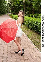girl, parc, jeune, parapluie