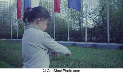girl, parc, jouer