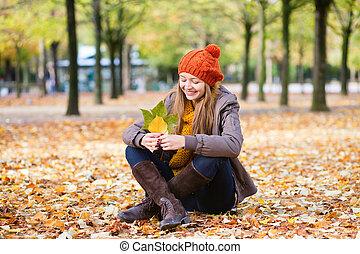 girl, parc, jour, automne