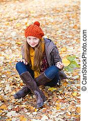girl, parc, jour, délassant, automne