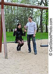 girl, park., rouleaux, type, balançoire