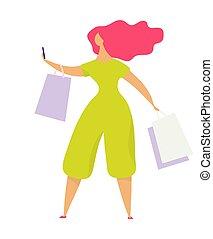 girl, parle, communications, plat, caractère, vêtements, vidéos, femme, communique, store., disques, vecteur, pourparlers, téléphone., social, isolé, sacs, élégant, vidéo, réseaux, fond, illustration, blanc, femme
