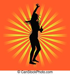 girl party vector silhouette illustration