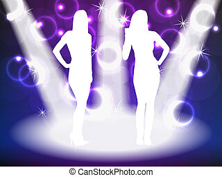 girl, partying, silhouettes