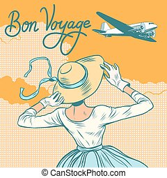 girl passenger plane Bon voyage pop art retro style. Girl...