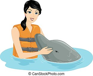 Girl Pat Friendly Dolphin - Illustration of a Girl Patting a...