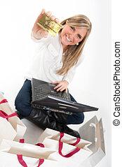 Girl paying online
