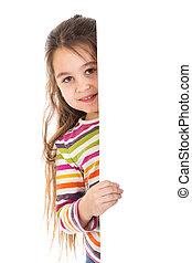 girl peek out from vertica banner