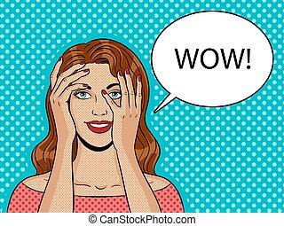 Girl peeking hands pop art vector illustration
