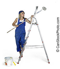 girl, peinture, échelle