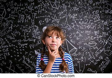 girl, pensée, mathématique, sur