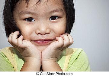 girl., pequeno, asiático