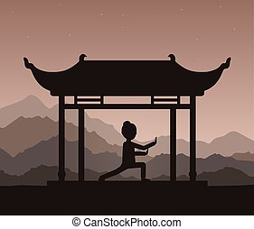 Girl performing qigong or taijiquan exercises in the evening.