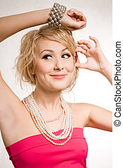 girl, perles, bracelet, beau, blond