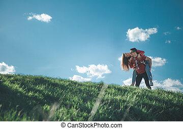 girl, petit ami, dos, nature