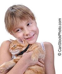 girl, peu, étreindre, elle, chaton