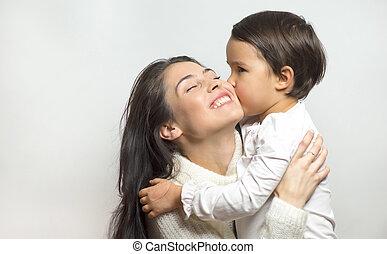 girl, peu, baisers, elle, mère