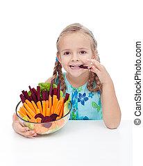 girl, peu, bol, légumes, tenue