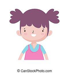 girl, peu, caractère, portrait, dessin animé, mignon, heureux