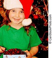 girl, peu, chapeau, santa, joli