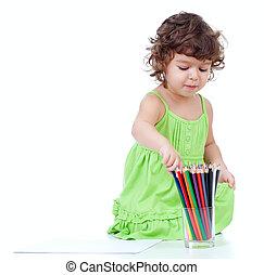 girl, peu, dessin, crayons