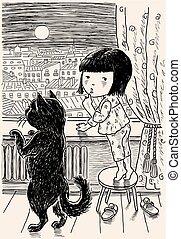 girl, peu, elle, ville, nuit, regarder, chat