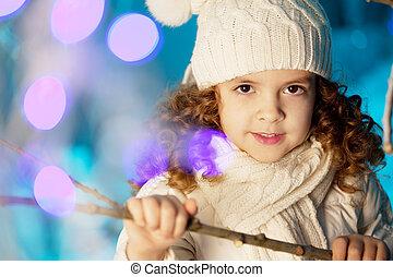 girl, peu, hiver, lapin