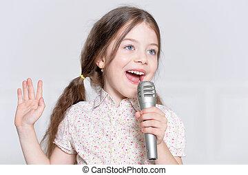 girl, peu, mignon, chant
