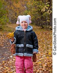 girl, peu, park., automne
