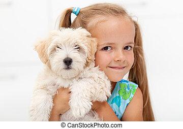 girl, peu, pelucheux, elle, chien