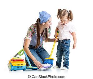 girl, peu, salle, maman, nettoyage